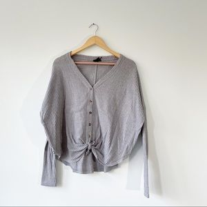 Urban Outfitters Gray Waffle Thermal XS Shirt
